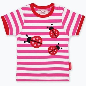 Organic Cotton Ladybird Appliqué pink striped tee